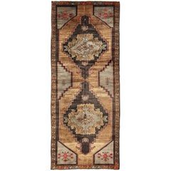 Vintage Turkish Gallery Runner in Gold, Brown, Taupe and Red Accents