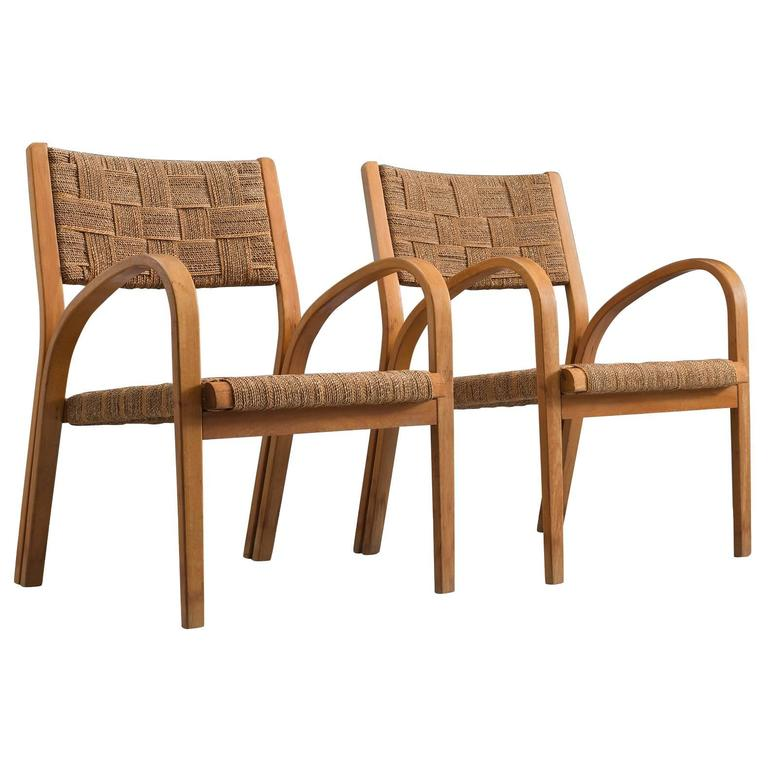 Attributed Giuseppe Pagano Rope Lounge Chairs with Ottomans 1