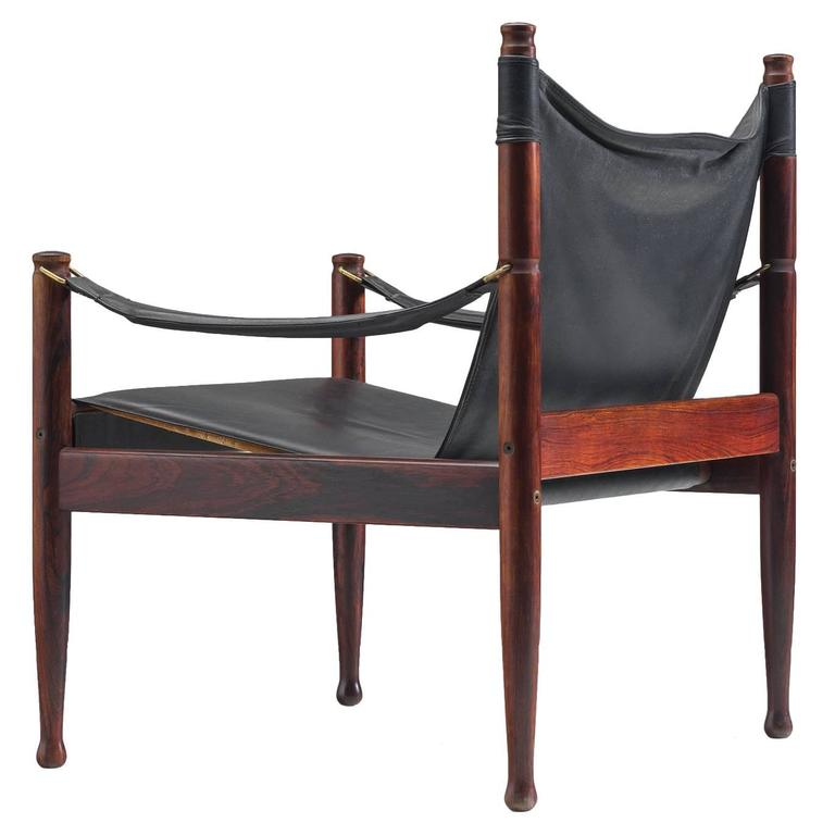Erik Wørts Safari Lounge Chairs in Rosewood and Leather For Sale
