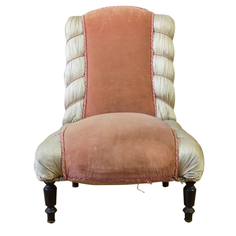 Elegant French 19th Century Slipper Chair