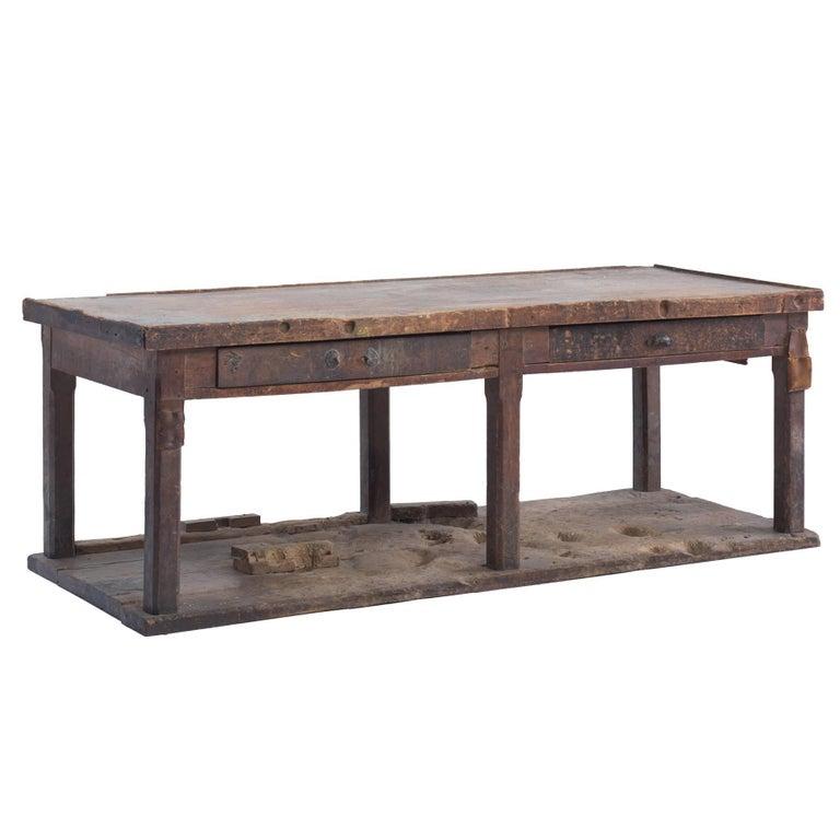Primitive Console on Hardwood Flooring For Sale