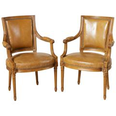 Mid-Century Pair of Louis XVI Style Beechwood Armchairs with Leather Upholstery