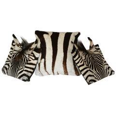 Set of Three Authentic Zebra Skin Pillows