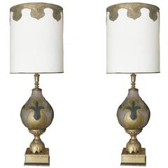 Hand-Painted Impasto Frosted Glass Mid-Century Table Lamp Pair with Shade