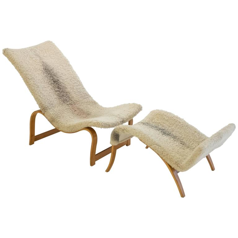 Early and Rare Bruno Mathsson Model 36 Easy Chair with Footrest For Sale