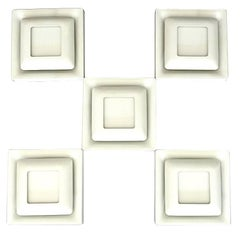 Signed Square Doria Wall Sconces White Enameled Metal Germany 1970s, Set of Five