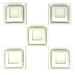 Modernist Set of Five White Enameled Metal Square Wall Sconces by Doria, Germany