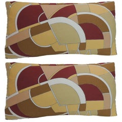 Pair of MOD Style Colorful Pop-Art Geometric Vintage Decorative Lumbar Pillows