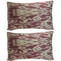 Pair of Vintage Fuchsia and Natural Silk Ikat Bolsters Decorative Pillows