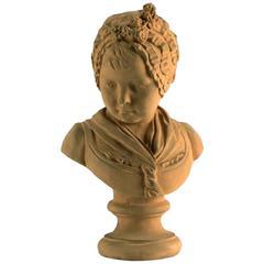 Terracotta Bust Girl with Bonnet After Jean-Antoine Houdon