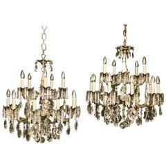 Italian Pair of Gilded Fifteen-Light Antique Chandeliers