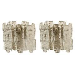 Pair of Kalmar Ice Glass Sconces, 1970