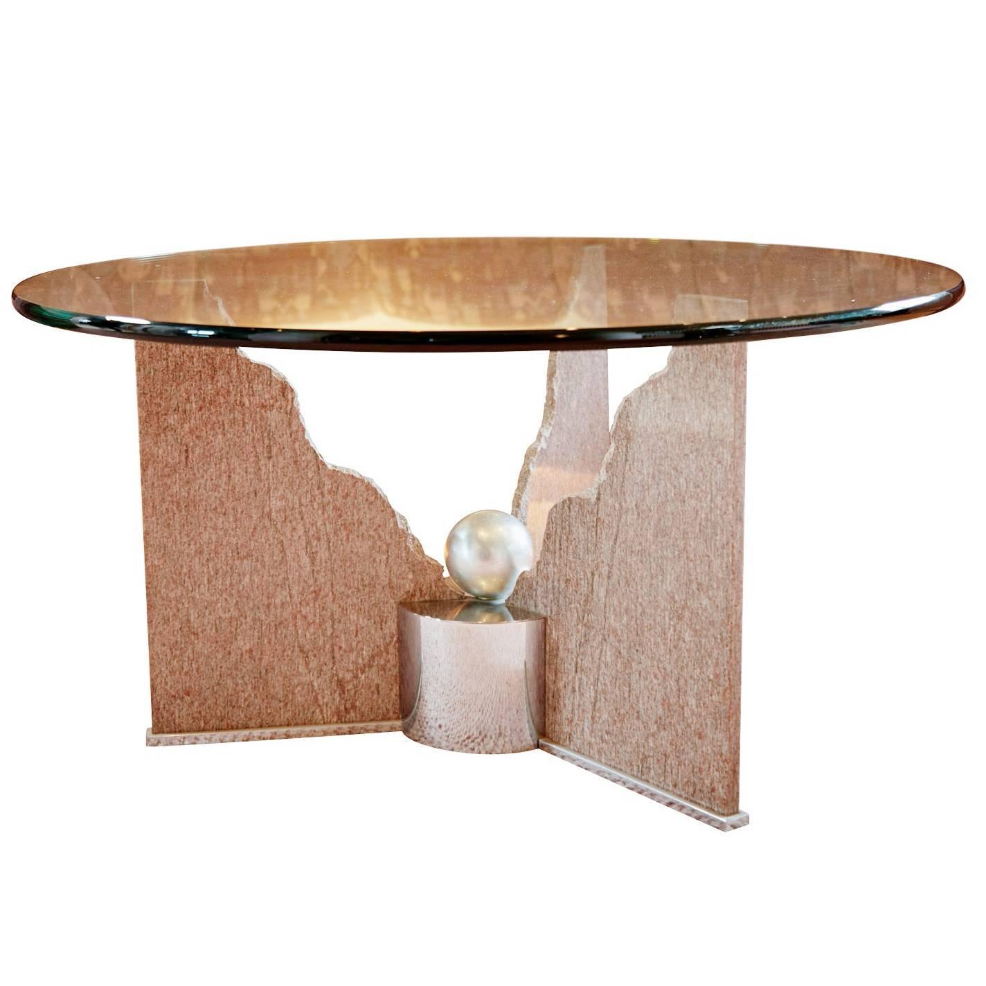 Custom Pink Granite Memphis Post-Modern Coffee Table by Steve Chase, Circa 1980