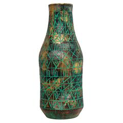 Raymor Bitossi Ceramic Vase Incised Gold Platinum Green Signed, Italy, 1960s
