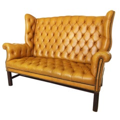 Chesterfield Wing Back Tufted Leather Sofa