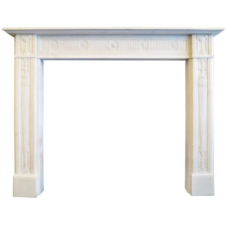 Fine George III Statuary White Marble Fireplace Mantel For Sale