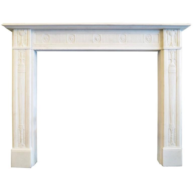 Fine George III Statuary White Marble Fireplace Mantel 1