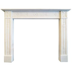 Fine George III Statuary White Marble Fireplace Mantel