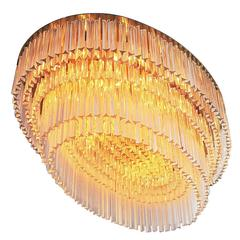 1 of 2 Italian Extra Large Flush Mount Chandeliers with Murano Glass