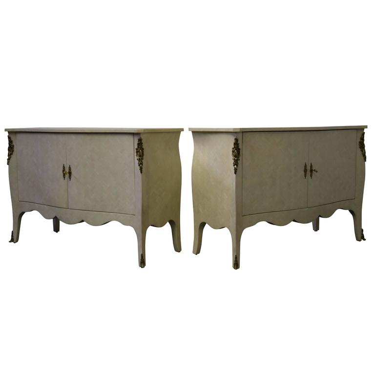 Pair of Signed Enrique Garcel Tessellated Bone Chests For Sale