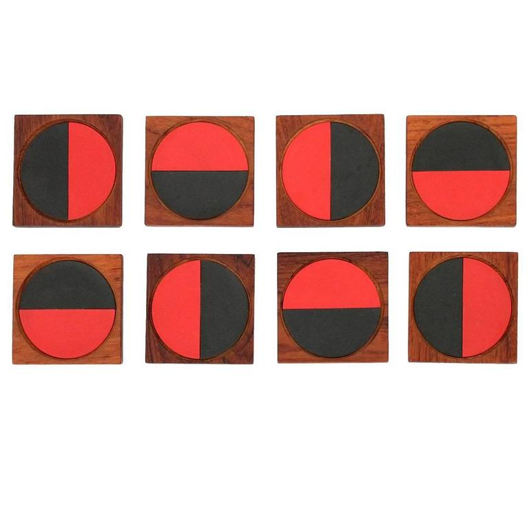 Graphic Danish Teak Coaster Set by Laurids Lonborg For Sale