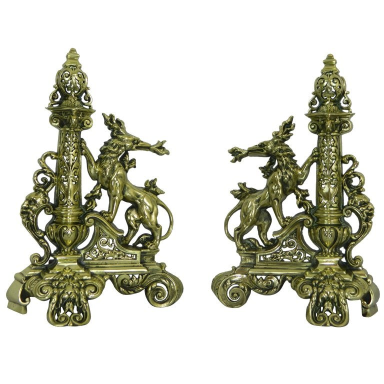 Pair of Chenets or Andirons with a Center Bar or Fender, 19th Century