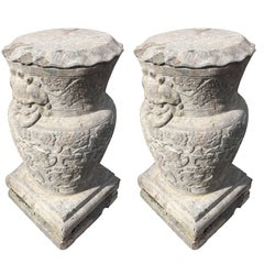 Chinese Pair Old  & tall  Stone Pedestal Display Bases fine details, 30""