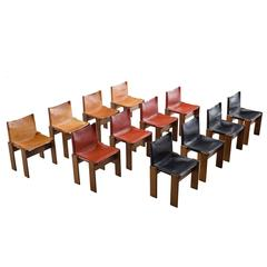 Three Sets of Scarpa Monk Chairs, Black, Sienna Red and Cognac