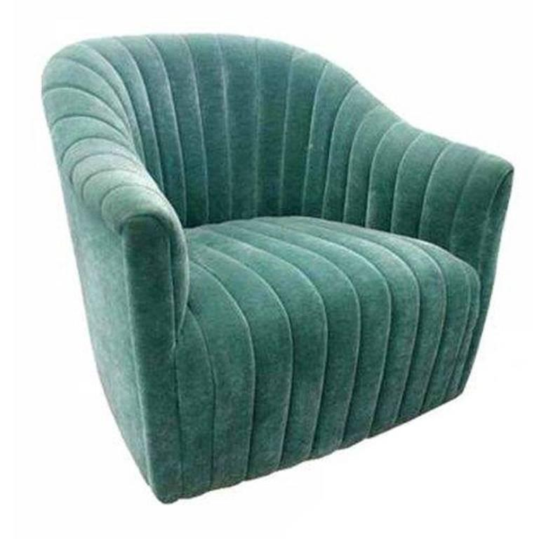 1 Ward Bennett For Brickell Green Mohair Lounge Chair  For Sale