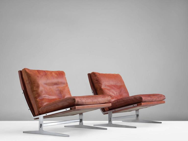 Set Of Chairs By Preben Fabricius And Jørgen Kastholm, Steel And Leather,  Denmark,