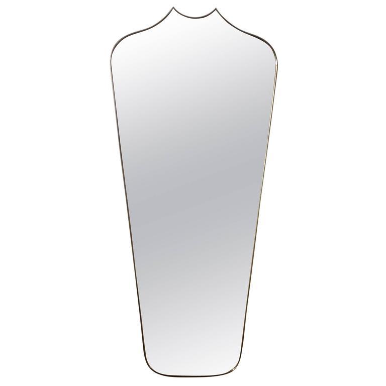 Oversized Italian Gio Ponti Inspired Mid Century Modern Brass Mirror