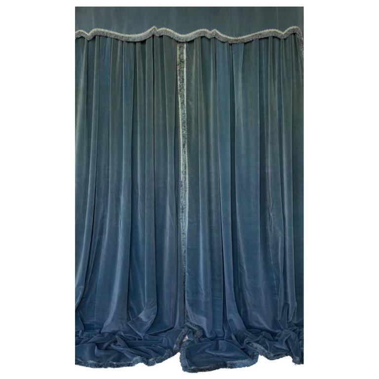 Three Pairs Of Blue Velvet Drapes With Valances For Sale