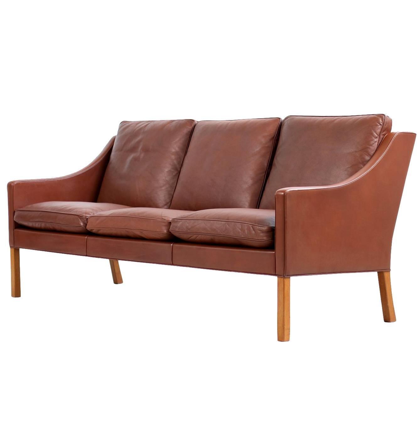1960s Borge Mogensen Mod. 2209 Cognac Leather Lounge Sofa Fredericia, Denmark