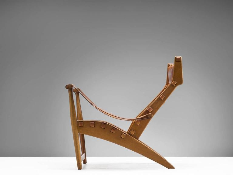 Lounge chair model 'Københavnerstolen', in oak and leather, by Mogens Voltelen for cabinetmaker Niels Vodder, Denmark, 1936. 