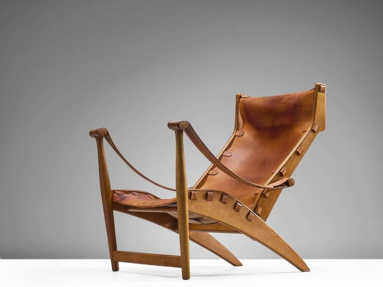 Scandinavian Modern Mogens Voltelen Cognac Copenhagen Chair For Sale