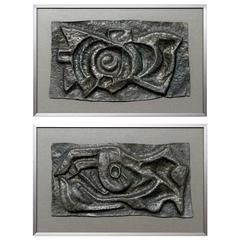 Pair of Abstract Lead Wall Sculptures