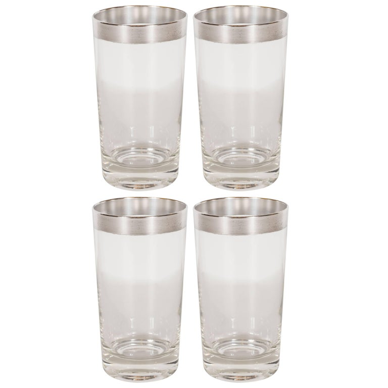 Set of 4 Mid-Century Sterling Silver Overlaid Highball Glasses by Dorothy Thorpe For Sale