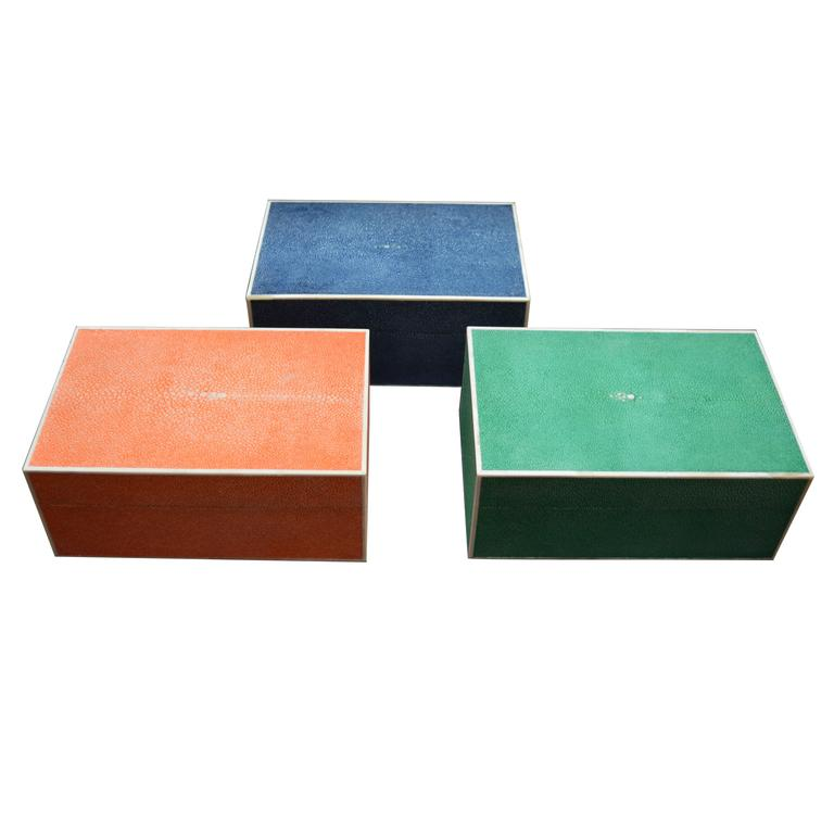 Set of Three Colorful Shagreen Boxes