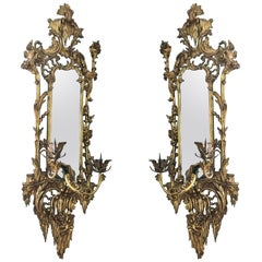 Giltwood Mirrored Wall Sconces