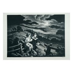 """Lithograph """"Letter from Overseas"""" by American Regionalist Thomas Hart Benton"""