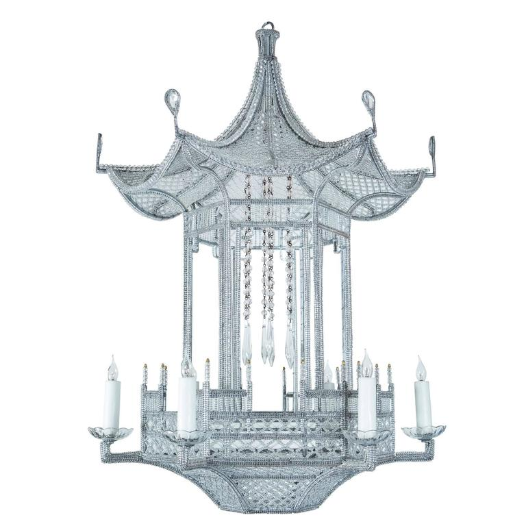 Petite red chinoiserie pagoda chandelier at 1stdibs custom made venezia beaded pagoda chandelier aloadofball