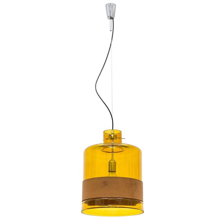 Large Amber Glass and Leather Pendant by Kalmar, 1970s