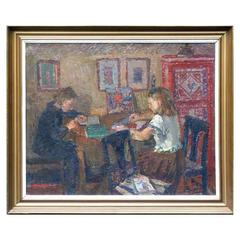 "Painting by James Gordon Ogilvie: ""Girls at the Table"""