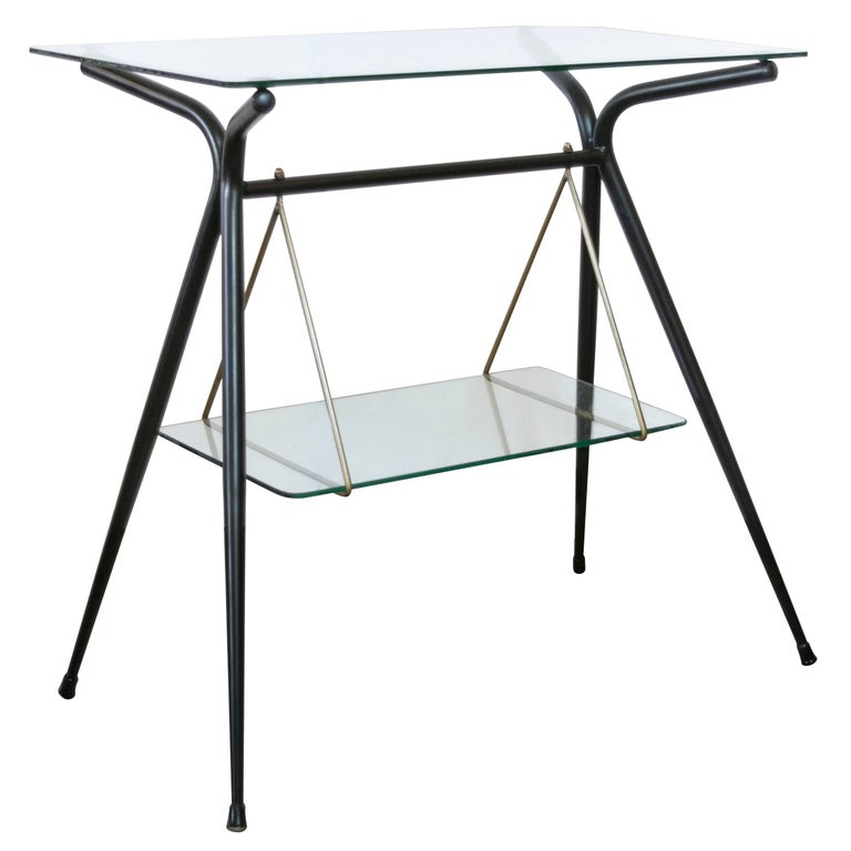Italian Two-Tiered Side Table in Black Lacquer and Brass by Angelo Ostuni For Sale