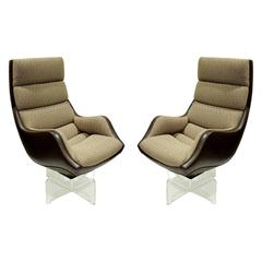 "Vladimir Kagan Pair of ""High Back Contour Swivel Chairs"", 1970s"