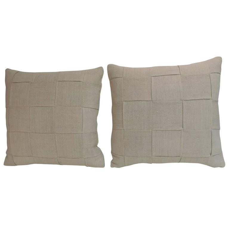 Pair of 19th Century Homespun French Antique Linen Pillows