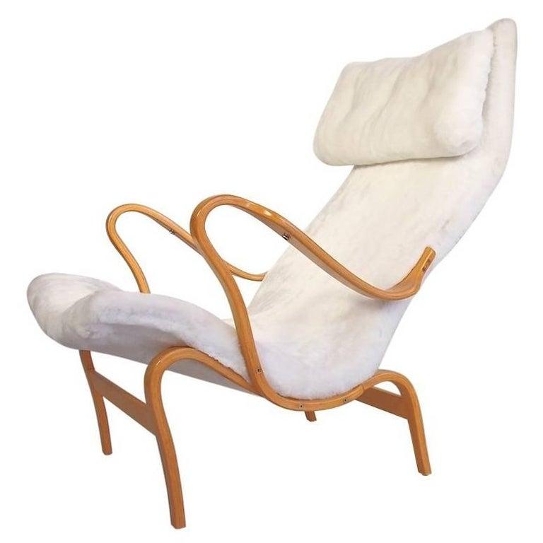 Bruno Mathsson White Faux Fur Pernilla Chair Produced by DUX