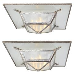 Pair or One Large French Art Deco Hammered Iron and Glass Square Chandelier