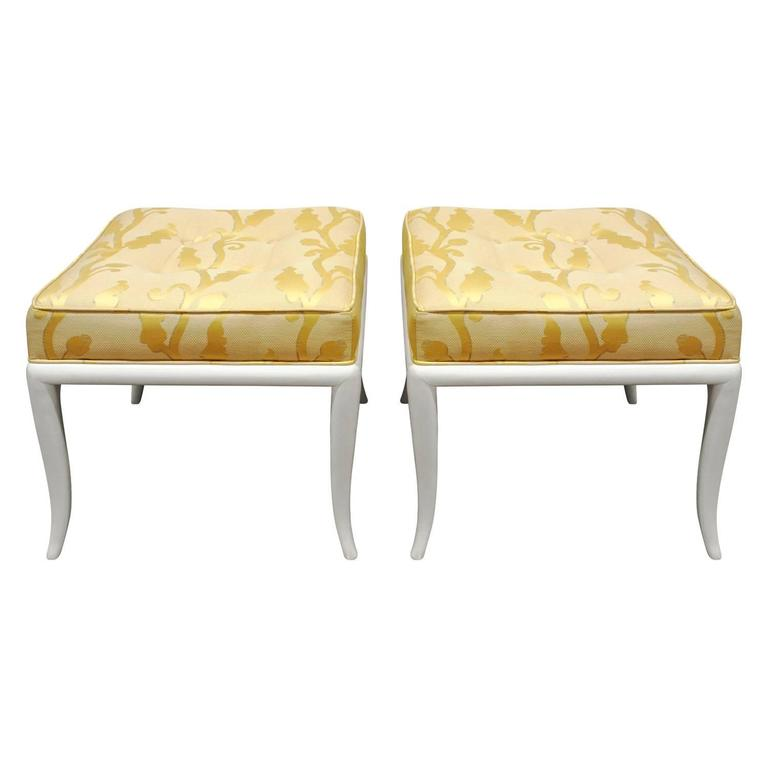 Robsjohn-Gibbings Pair of Curved Leg Benches, 1950s 1