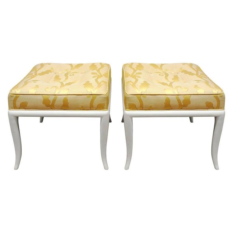 Robsjohn-Gibbings Pair of Curved Leg Benches, 1950s For Sale